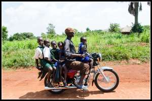 Loaded boda boda on the way back from Lira - shot from my boda boda!!