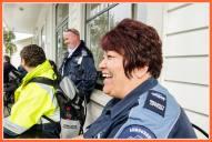 Jenny Kapene, local identity/celebrity,on guard duty for the day - ya don't mess with Jenny!!