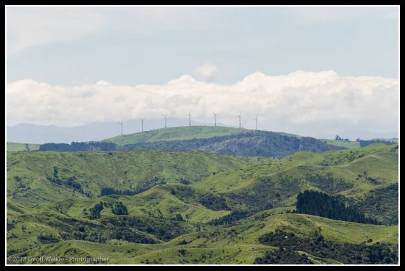 From the hills above Tora looking north west to the Haunui wind farm