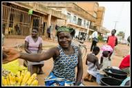 Street seller in Gulu selling .... bananas