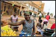 Street seller in Gulu selling .... bananas