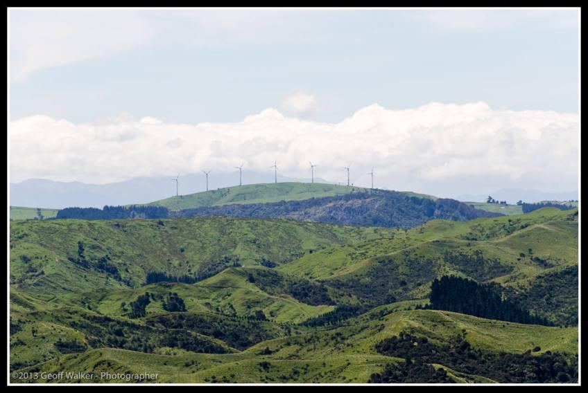 Looking west towards the Haunui wind farm from near Tora