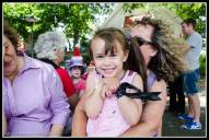 Greytown Xmas Parade - Ella Paterson and her hiding Mum.