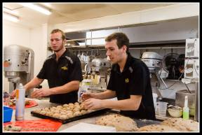 Hot cross bun production line at Wild Oats.