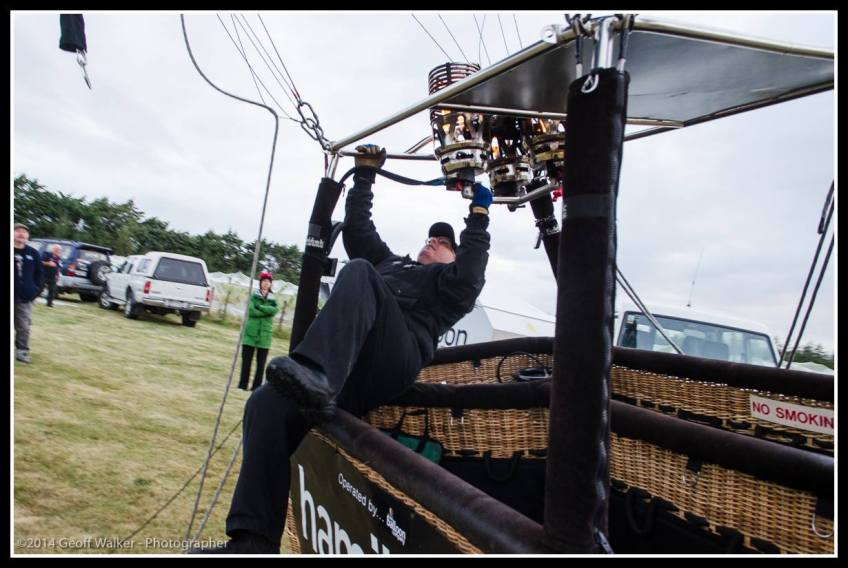 The pilots ride the basket as it stands up too.