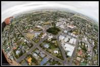 Square with fish eye view.