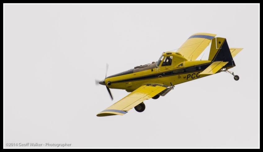 Local pilot John Bargh flies past with a wiggle of his wings..